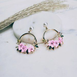 5 for $25 Pearl and Crystal Flower Earrings